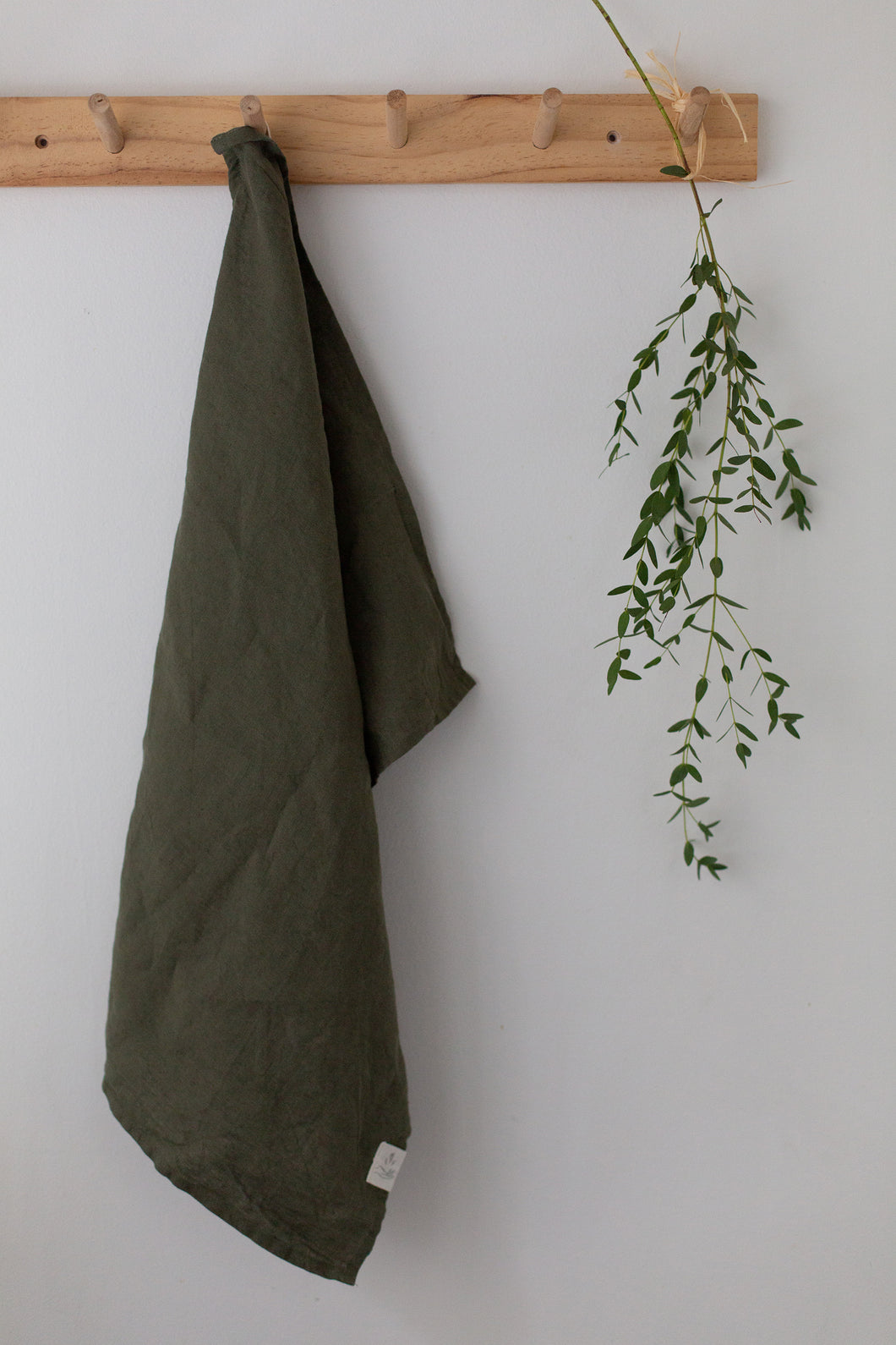Linen Tea Towel - Forest green