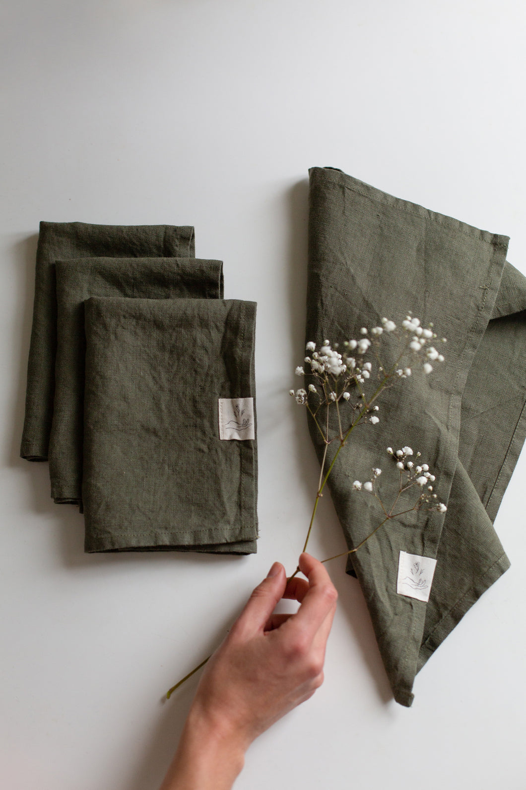 Linen Napkins - Forest green