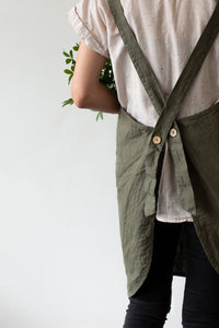 Linen Apron - Forest green