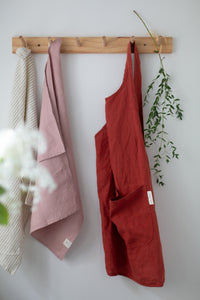 Linen Tea Towel - Dusty pink
