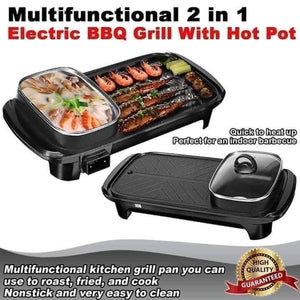 2 in 1 Electric BBQ Hotpot with Grill Pan