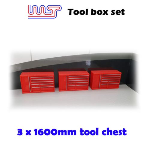 Slot Car Garage Pit Scenery 1600mm - Tool Chest x 3  Red 1:32 Scale