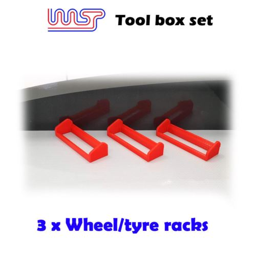 Slot Car Garage Pit Scenery - Wheel Tyre Rack x 3  Red 1:32 Scale