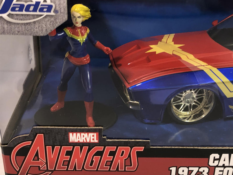 Captain Marvel 1973 Ford Mustang with Figure 1:24 Scale Jada 31193
