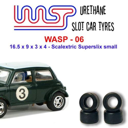 Urethane Slot Car Tyres x 4 Wasp 06 16.5 x 9 x 3 x 4 Fit Scalextric