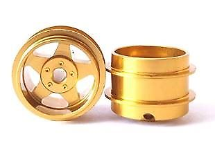 Staffs Slot Cars UK 5 Spoke Alloy Rims Wheels Gold x 2 Staffs02 New