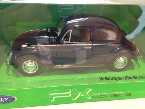 Welly Volkswagen Beetle Black Classic 1:24 Scale New Boxed 22436K