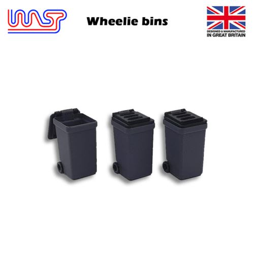 Slot Car Track Scenery Grey Wheelie Bins x 3 1:32 Scale NEW Wasp