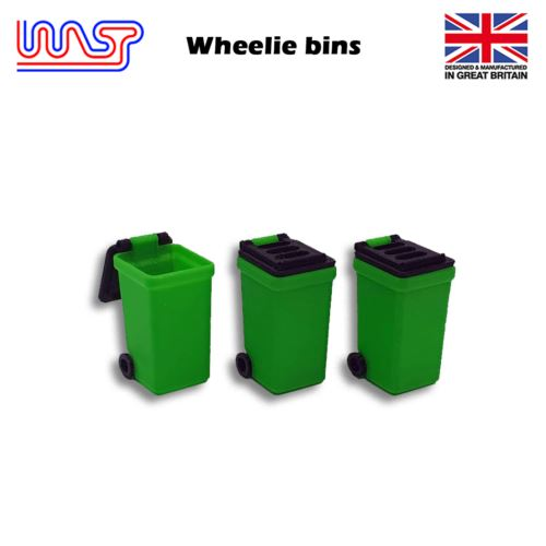 Slot Car Track Scenery Green Wheelie Bins x 3 1:32 Scale NEW Wasp