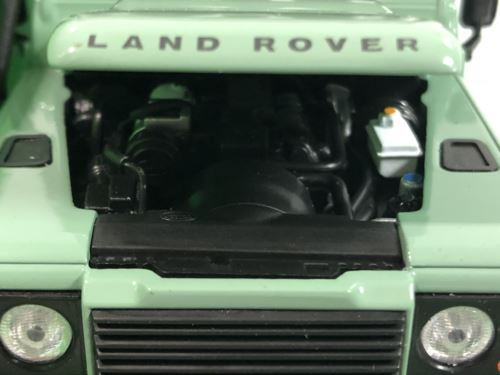 Land Rover Defender Green White with Roof Rack 1:24 Scale Welly 22498
