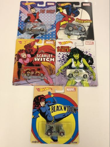 Marvels Pop Culture Hot Wheels Real Riders Set of 5 DLB45-946A