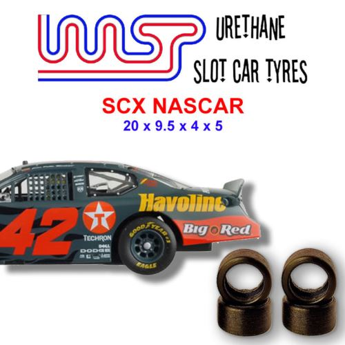 Urethane Slot Car Tyres x 4 Wasp 18 SCX NASCAR Front Rear