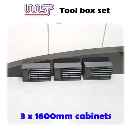 Slot Car Garage Pit Scenery 1600mm - Tool Chest x 3 Grey 1:32 Scale
