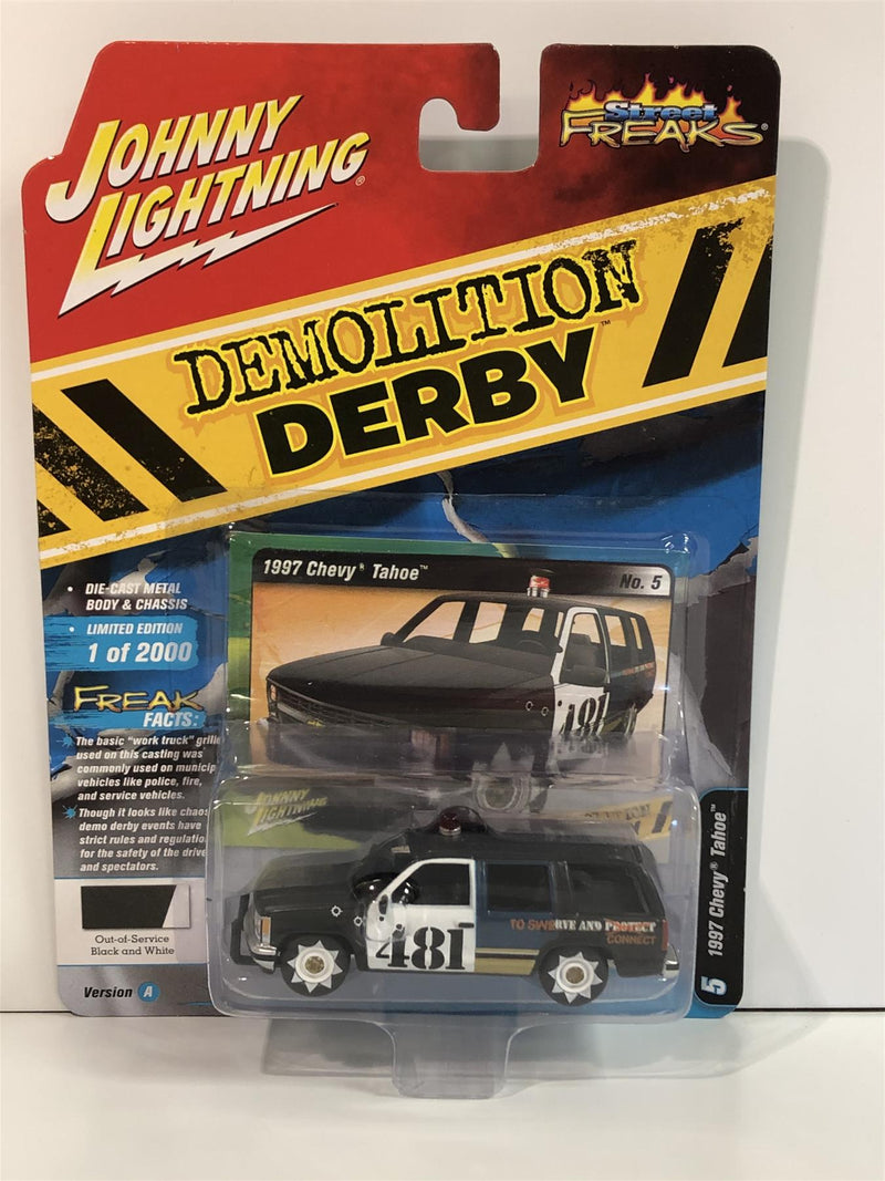 1997 Chevy Tahoe Demolition Derby Black White 1:64 Johnny Lighting JLSF015A