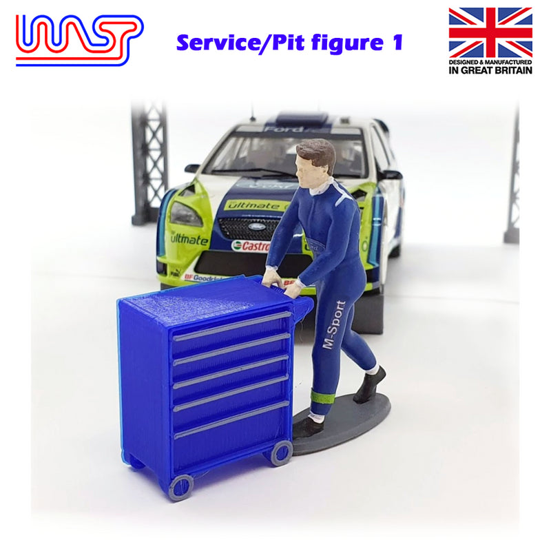 Trackside Figure Scenery Display Figure No 1 Pit Crew with Tool Box Red WASP