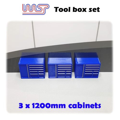 Slot Car Garage Pit Scenery 1200mm - Tool Chest x 3 Blue 1:32 Scale