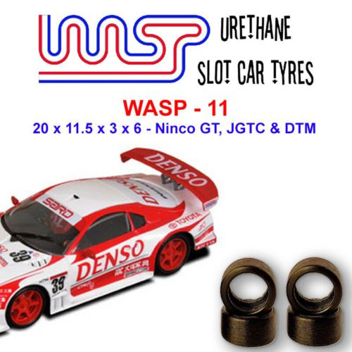 Urethane Slot Car Tyres x 4 Wasp 11 20 x 11.5 x 3 x 6 Multi Brand Fit