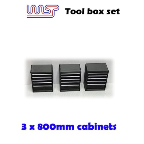 Slot Car Garage Pit Scenery 800mm - Tool Chest x 3 Black 1:32 Scale