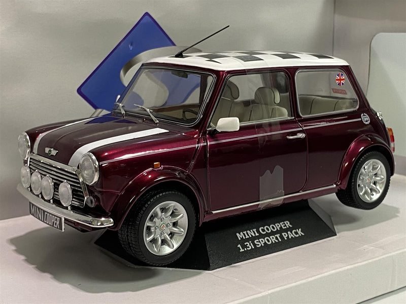 Mini Cooper S Purple 1997 Check Roof 1:18 Scale Solido 1800606