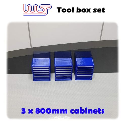 Slot Car Garage Pit Scenery 800mm - Tool Chest x 3 Blue 1:32 Scale