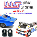 Urethane Slot Car Tyres x 4 Wasp 13 19 x 8.5 x 4 x 3 Pioneer and Scalextric