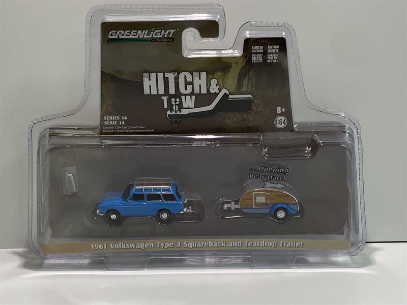 1961 VW T3 Squareback and Teardrop Trailer 1:64 Greenlight 32140A