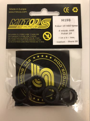 Mitoos M198 Poker 19 Raid Tyres x 4 19x9mm Medium 35 Shore New