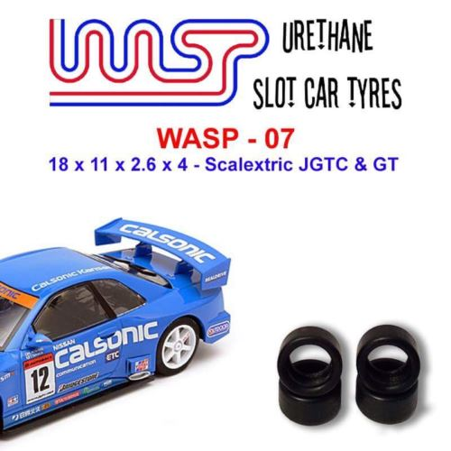 Urethane Slot Car Tyres x 4 Wasp 07 18 x 11 x 2.6 x 4 Fit Scalextric