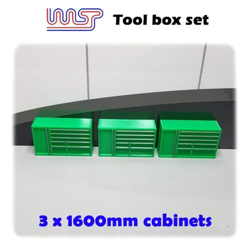 Slot Car Garage Pit Scenery 1600mm - Tool Chest x 3 Green 1:32 Scale