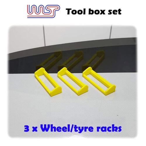 Slot Car Garage Pit Scenery - Wheel Tyre Rack x 3 Yellow 1:32 Scale