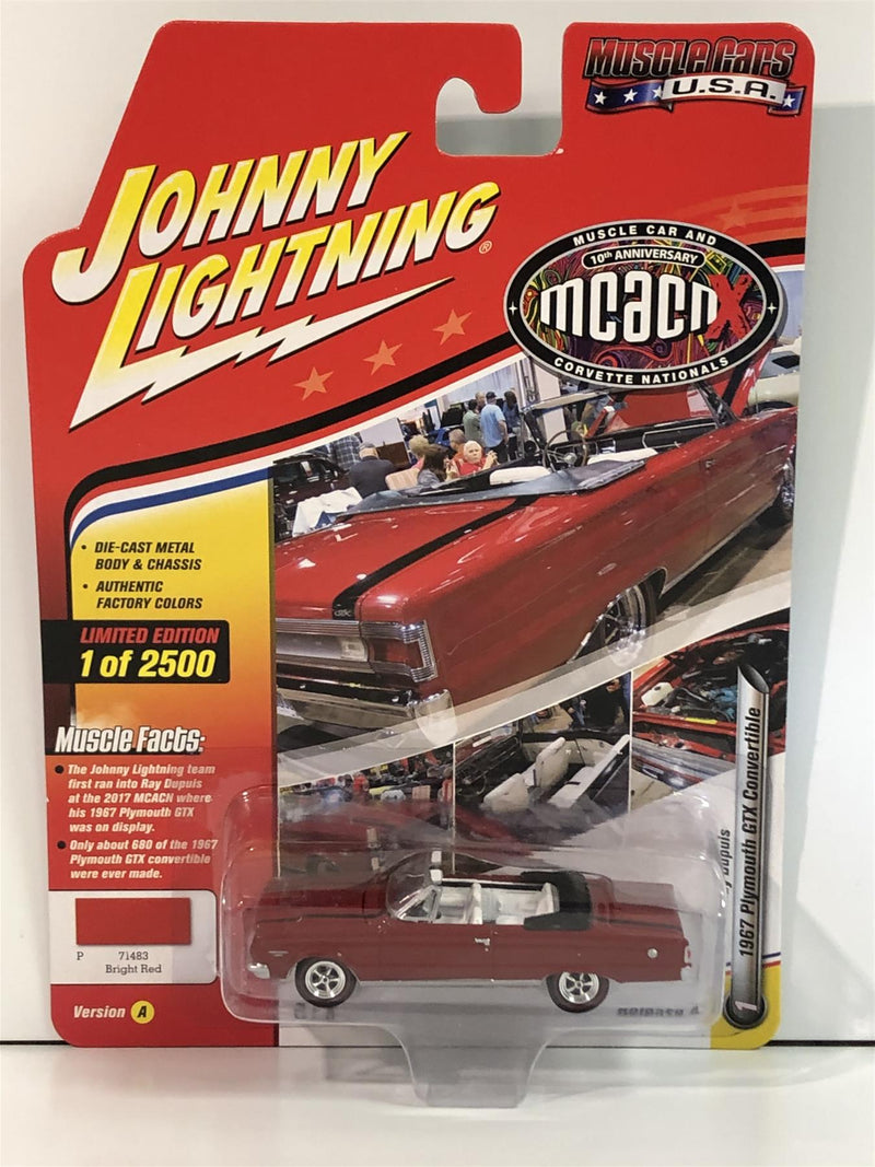 1967 Plymouth GTX Convertible Bright Red 1:64 Scale Johnny Lightning JLMC016A