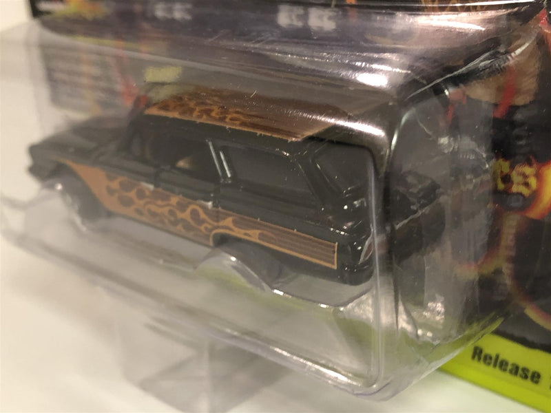 1960 Ford Country Squire Black Brown Flames 1:64 Scale Johnny Lightning JLSF013A