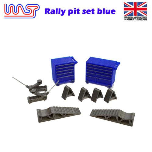 Slot Car Trackside Scenery Rally Service Tool Set Blue 1:32 Scale WASP