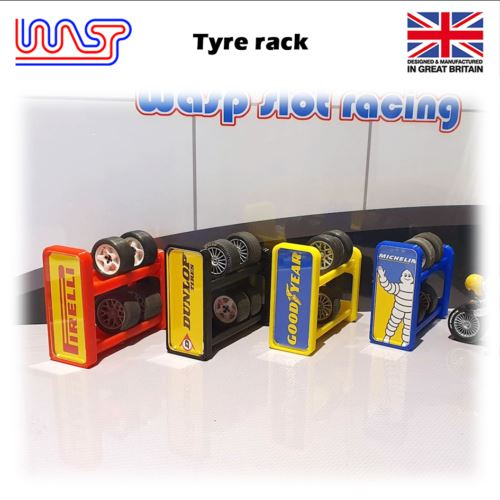 Slot Car Scenery Track Side Tyre Wheel Rack Yellow with Logos 1:32 WASP