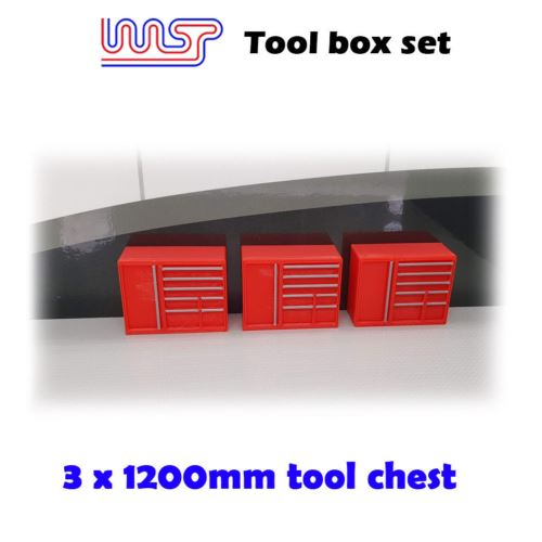 Slot Car Garage Pit Scenery 1200mm - Tool Chest x 3 Red 1:32 Scale