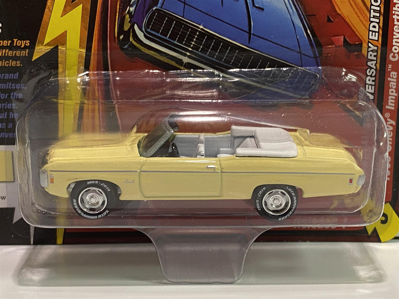 1969 Chevy Impala Convertible Butternut Yellow 50th 1:64 Johnny Light JLCG018A