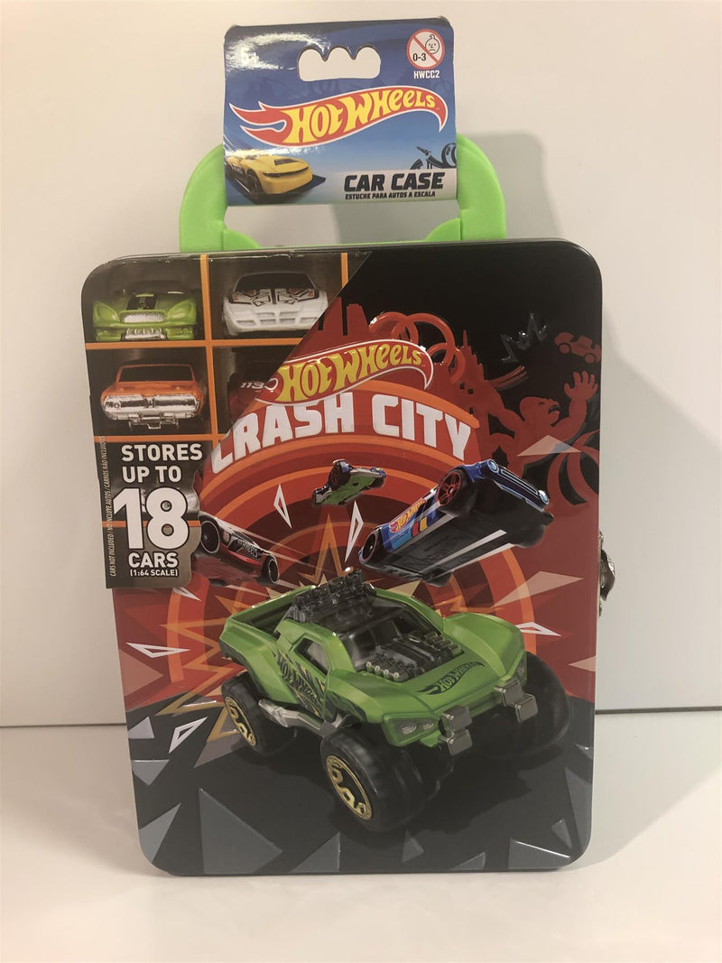 Hot Wheels Holds 18 Cars Tin Carry Case Crash City New