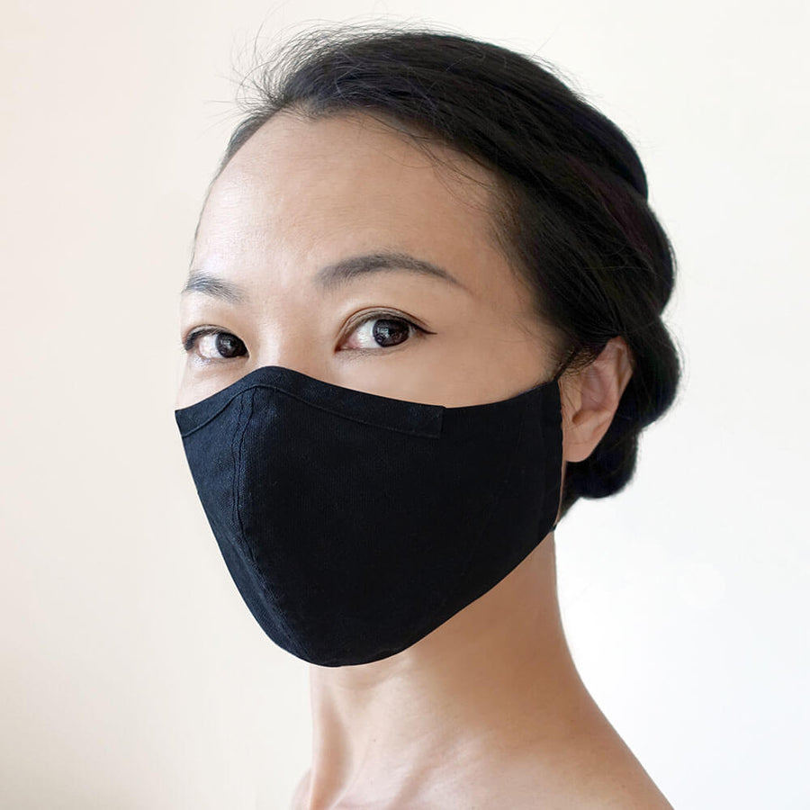Reusable hand-crafted face mask BLACK