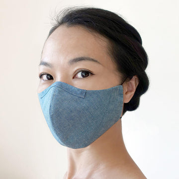 Reusable hand-crafted face mask BLUE