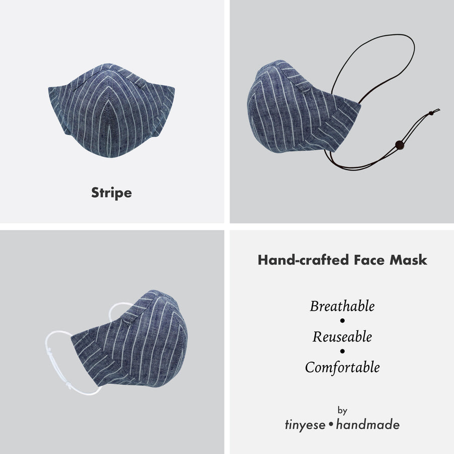 Reusable hand-crafted face mask Stripe
