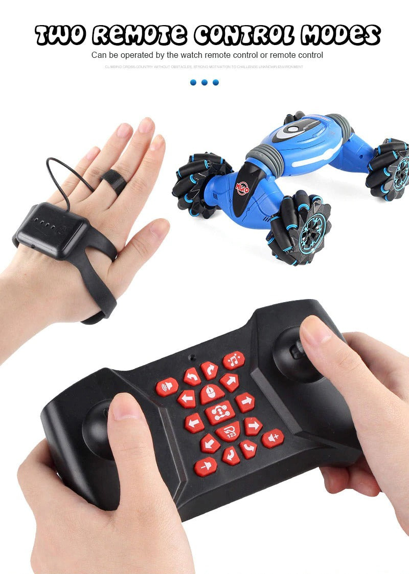 Stunt Remote Control Car, Hand Gesture Sensing Double Sided Twisting Vehicle & RC Drift Car.
