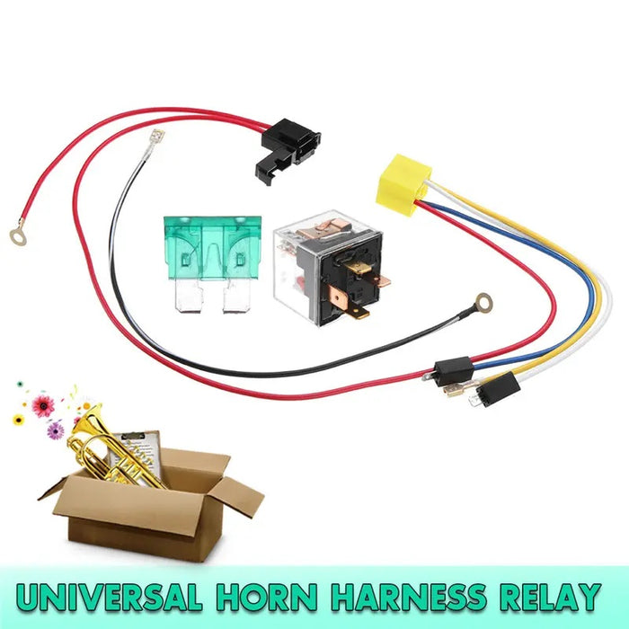 Universal 12V Dual Tone Electric Air Horn Wiring Harness Relay For Car Truck Van Train Boat - Tazooly