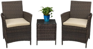 3 Pcs Stylish Patio Furniture Set - Rattan Wicker Chairs with Table