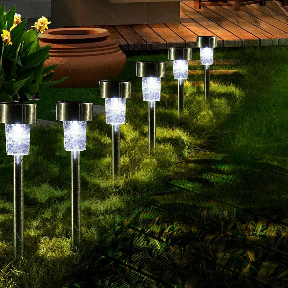 16pcs LED Solar Stainless Steel Lawn Lamps Garden Outdoor Landscape Path Light - Tazooly