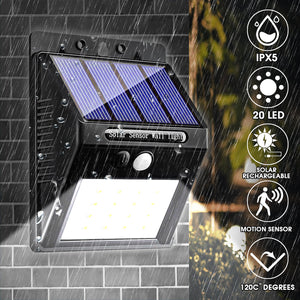20 LED 400Lumen Outdoor Solar Wall Lamp Wireless Motion Sensor Lights Waterproof Bright Security Night Light for Yard Walkway - Tazooly