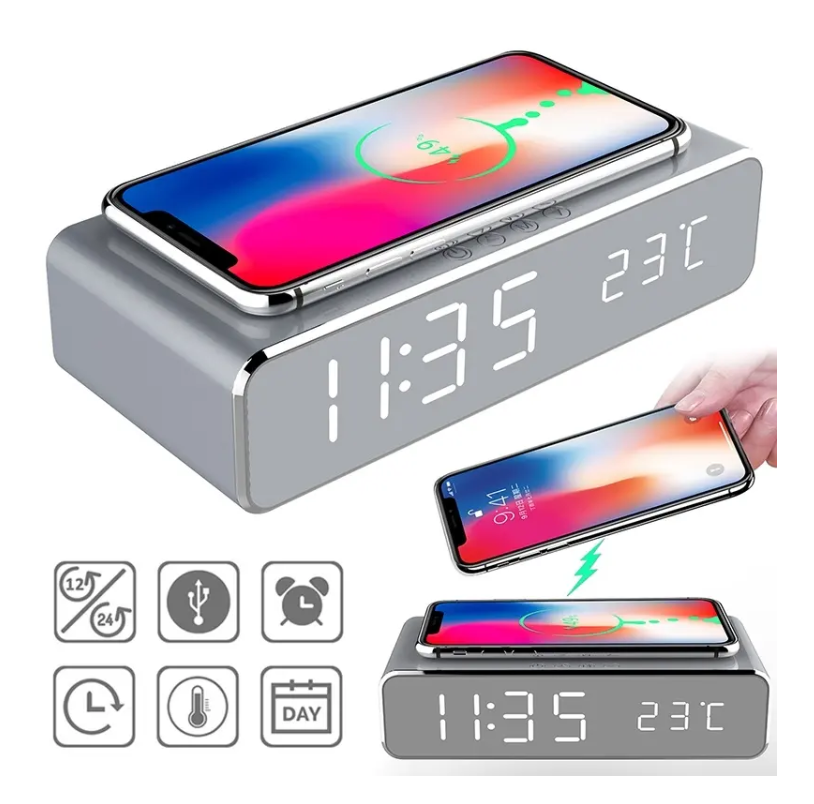 Qi wireless charger iPhone Samsung Cell Phone Wireless Charger Desk Alarm Clock Android-iOS Charger USB Digital LED Alarm Clock With Thermometer - Silver - Tazooly