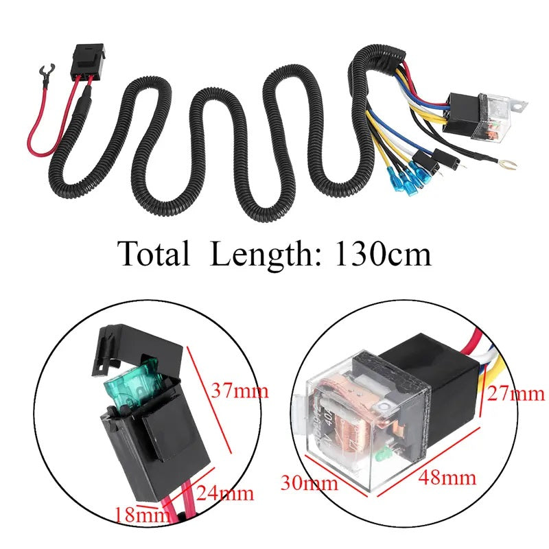 12/24V 100CM Horn Wiring Harness Relay Kit Double Speaker Harness For Car Truck - Tazooly