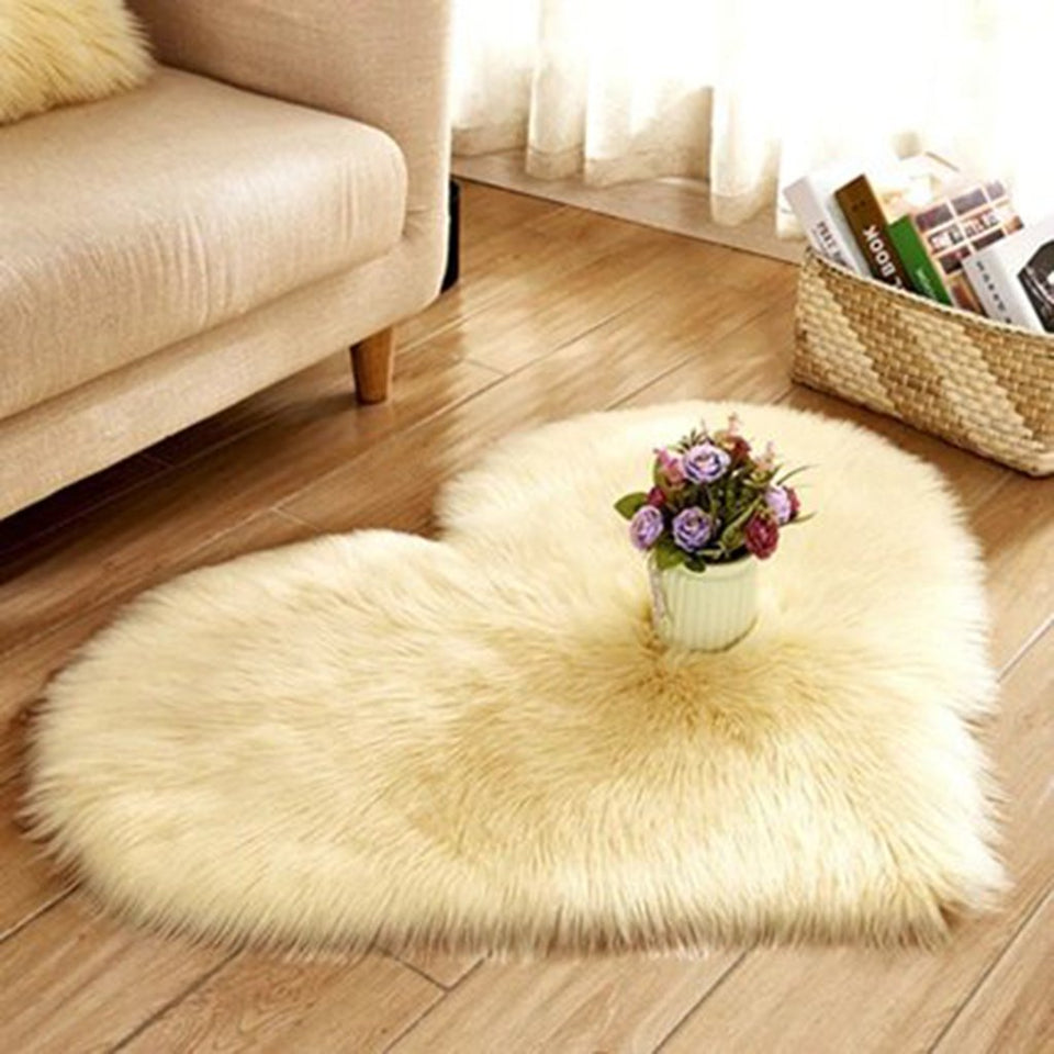 Heart Shaped Soft Faux Sheepskin Fur Area Rug - Tazooly