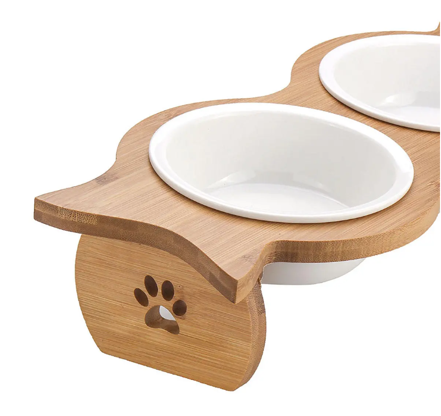 Pet Bowl Feeder Double Cat Bowl Dog Bowl Pet Food Pot Stand Stainless Steel/Ceramic - Tazooly