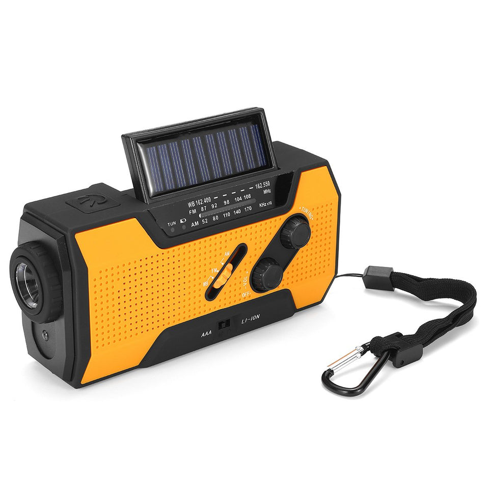 Portable AM FM NOAA Radio Solar Crank Emergency Weather Flashlight Rechargeable Power Bank for iPhone Android - Tazooly